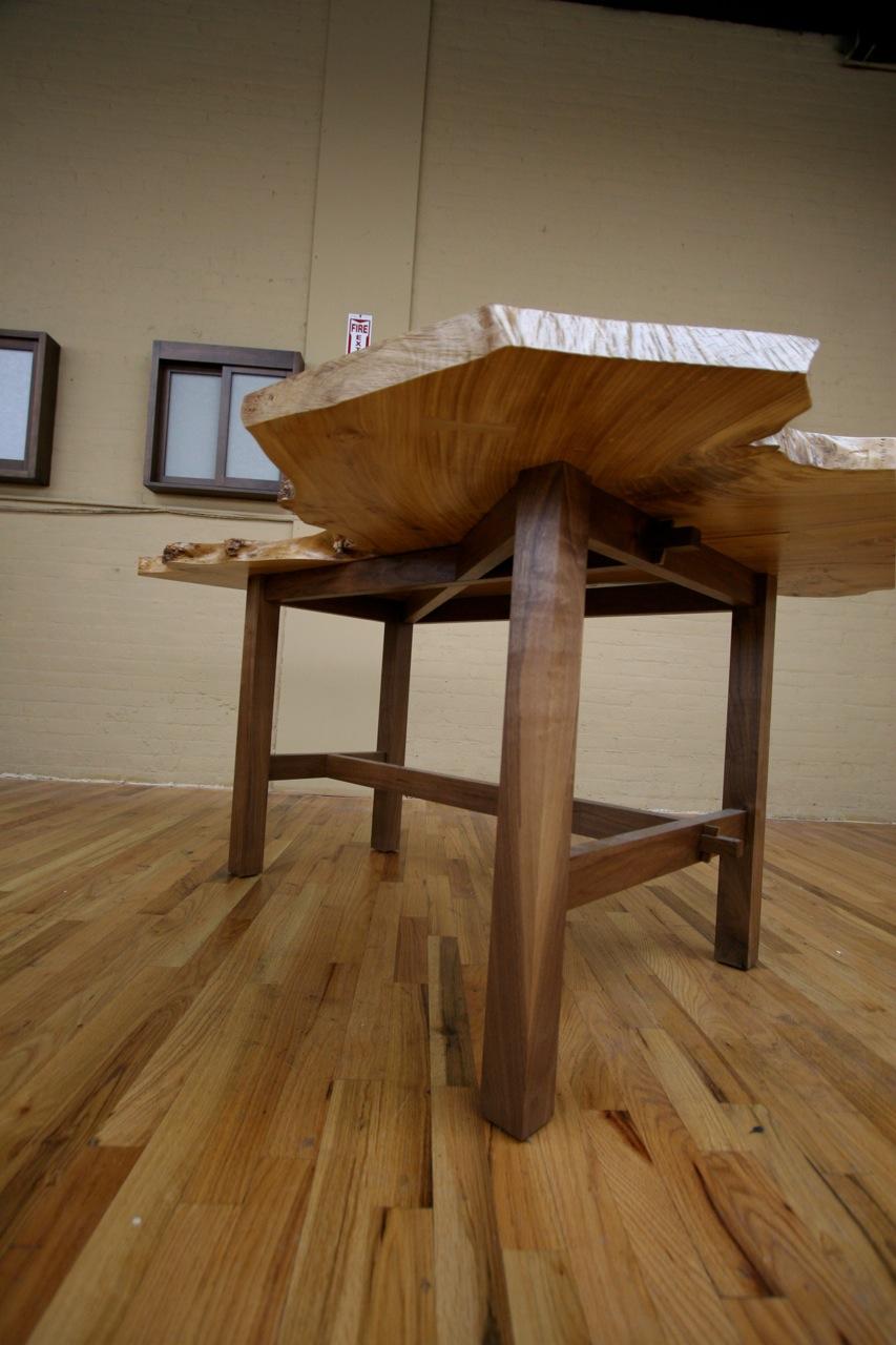 Completed White Elm Table Finished With Walnut Base 2016 Miya Shoji